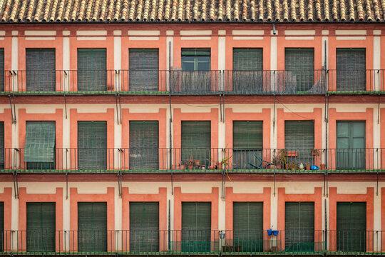 Windows of The Plaza de la Corredera square, Cordoba, Spain