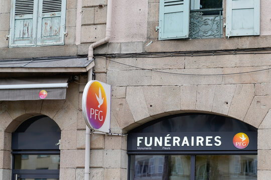 PFG sign text and logo in front of agency Pompes Funebres Generales French Undertaker and mortician