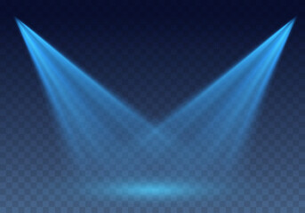Blue scanner or laser effect. Glowing stage light rays isolated on transparent background. Vector bright scene spotlight projector beams