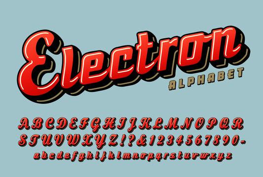 Electron retro script alphabet, a vintage streamlined cursive font.