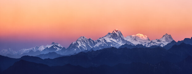 Panoramic view of the snowy mountains famous Annapurna Nature Reserve, Nepal.