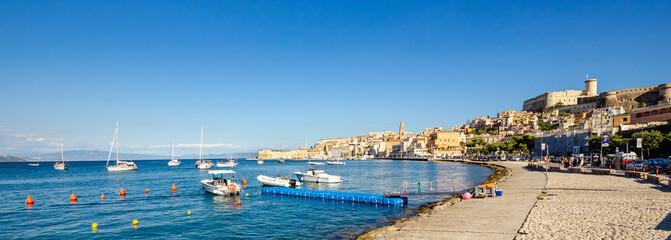 Gaeta, Italy. The pretty bay of Gaeta in southern Lazio, Italy. Bay of Gaeta with boats and rocks. Fotomurales