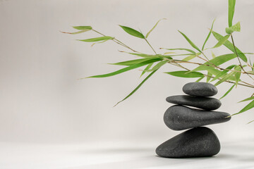 Fototapeta Spa zen basalt stones and green bamboo leaves on white background. The concept of wellness, relaxation, massage and well-being. Still life background. Harmony and balance.