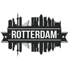 Rotterdam Netherlands, Skyline Silhouette Design City Vector Art Stencil.