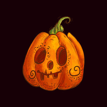 Pumpkin character. Halloween art illustration