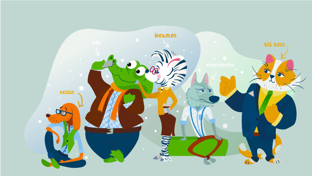 Humanized animals' business animals characters teamwork. cat, zebra, squirrel, elk