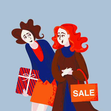 Two girlfriends walking and shopping together. Banner. Happy women's day card, poster, banner. Hand drawn vector illustration.