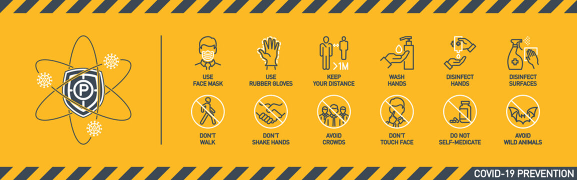 Prevention line icons set isolated on yellow. outline symbols Coronavirus Covid 19 pandemic banner. Quality design elements mask, gloves, distance, wash disinfect hands, stay home