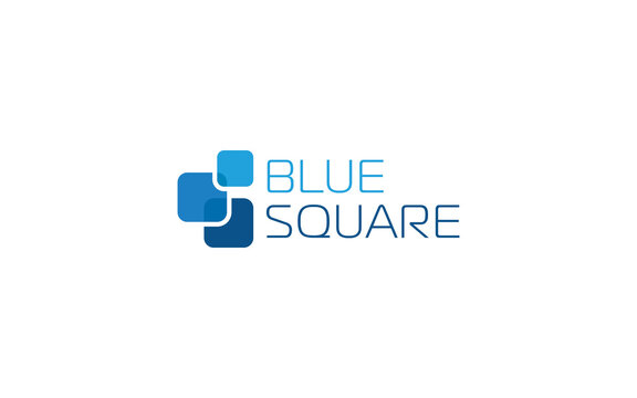 Abstract square logo formed in simple shape with blue color