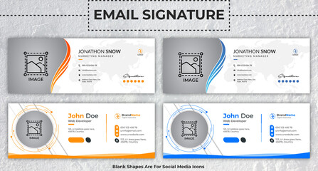 Corporate, Modern & Professional Email Signature. Flat multipurpose business email signatures with author photo place vector banner.