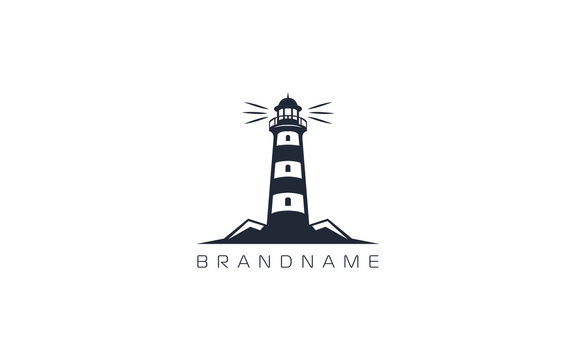 Lighthouse logo formed with simple and modern shape