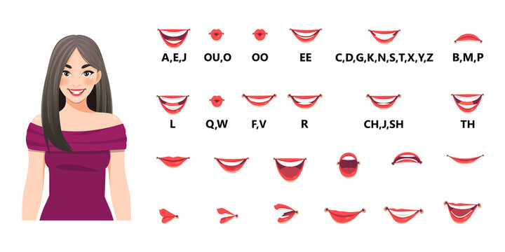 Mouth animation set. Mouths pronounce letters. Lip movement. Various open mouth options with lips, tongue and teeth. Isolated vector illustration