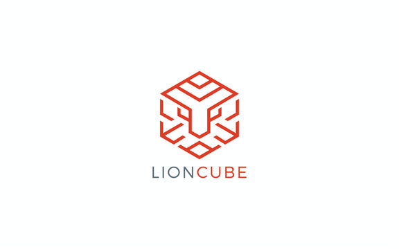 Lion logo formed cube symbol with simple line in orange color
