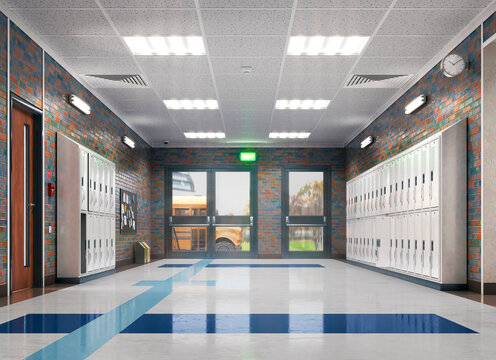 Long school corridor with yellow lockers , 3d illustration