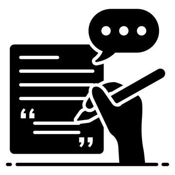 Speech writing icon design, copywriting in style