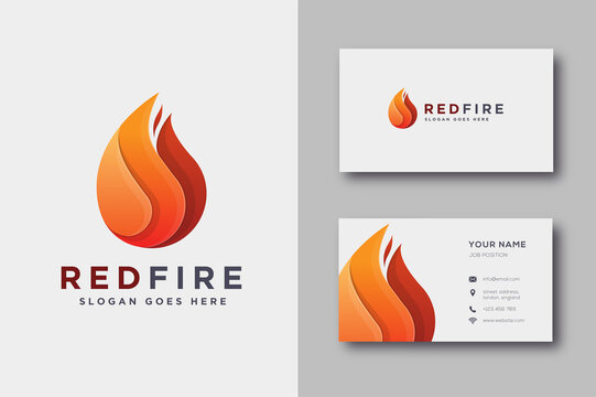 Modern geometric fire flame logo icon vector and business card template