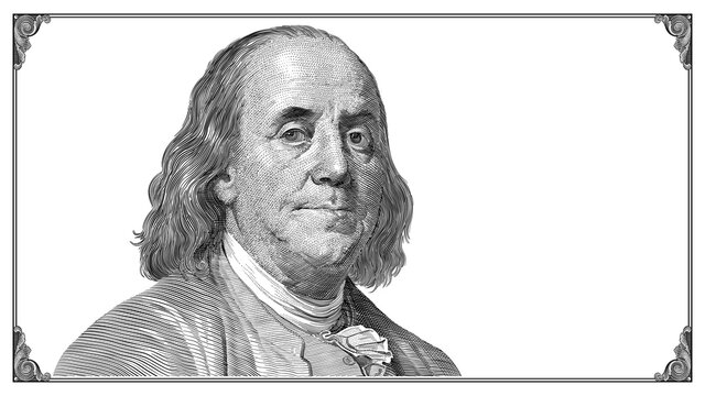 Benjamin Franklin portrait with frame on white background. Vector drawing.