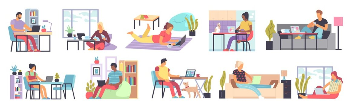 Men and women working home. Distance work in home office people sitting on sofa or armchair with laptop or computer in living room interior freelance concept flat cartoon vector set