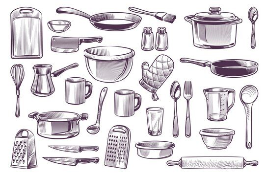 Sketch cooking equipment. Hand drawn doodle kitchen utensils set cooking pot and knife, spoon and cup, cutting board engraving style gastronomy culinary vector isolated collection