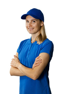 young woman in blue polo shirt and hat with arms crossed isolated on white background