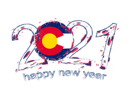 Happy New 2021 Year with flag of Colorado.
