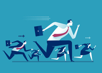 Business competition. Teamwork, Leadership. Business team runs to the goal. Business vector illustration.