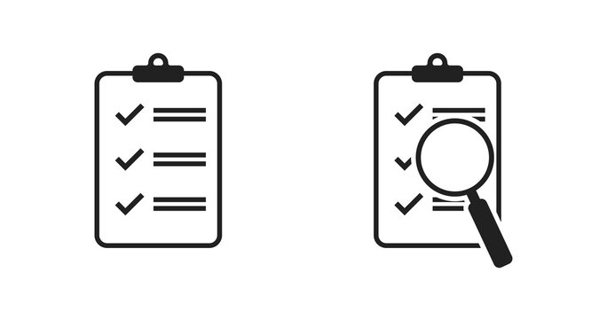 Checklist document magnifier icon vector. Isolated flat design for web