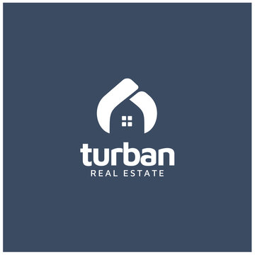 Arabian or Indian Turban Guru Sultan with House Windows for Home Real Estate logo design