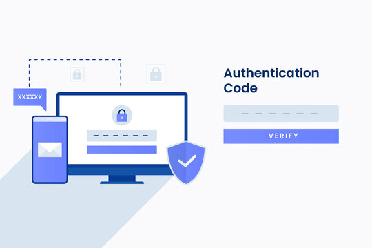 Authentication code illustration for site. Illustration for websites, landing pages, mobile applications, posters and banners.