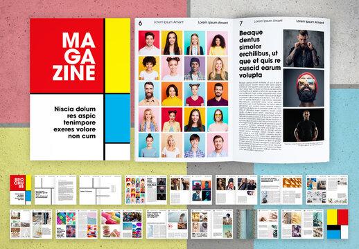 Retro Bauhaus Style School Magazine Layout