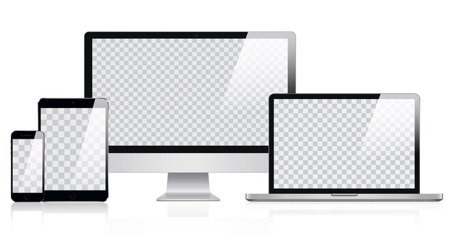 Mockup of Realistic Computer, Laptop, Tablet and smartphone with Transparent Wallpaper Screen Isolated. Set of Device Mockup Separate Groups and Layers. Easily Editable Vector. Vector illustration
