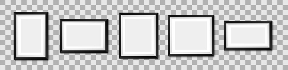 Realistic picture frame mockup. Vector background