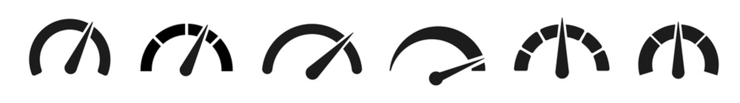 Speedometers set icons. Vector illustration