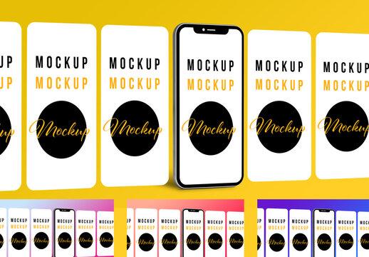 Multiple Screens Phone Presentation Mockup