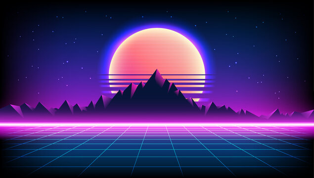 80s Retro Sci-Fi Background with Sunrise or Sunset night sky with stars, mountains landscape infinite horizon mesh in neon game style. Futuristic synth retrowave illustration in 1980s posters style