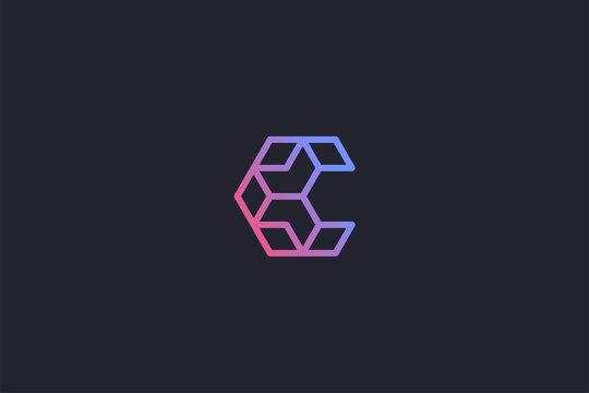 Technology Letter C Logo Abstract Whimsical Monogram