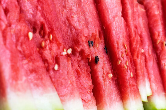 Close-up of sliced watermelon slices.