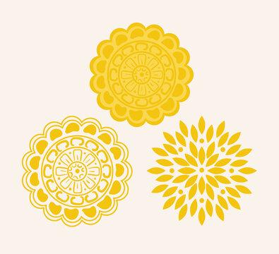 yellow mandala on white background, vintage luxury mandala vector illustration design