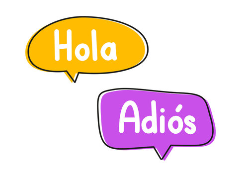 Hola adios. Handwritten lettering illustration. Black vector text in pink and yellow neon speech bubbles.