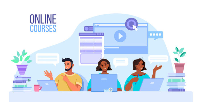 Online education or courses vector illustration with diverse students working at home in internet. Virtual school or webinar concept with multinational people, laptops, books. Online education banner