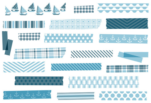 Collection of washi tape strips. EPS file has global colors for easy color changes and semitransparent tape strips.