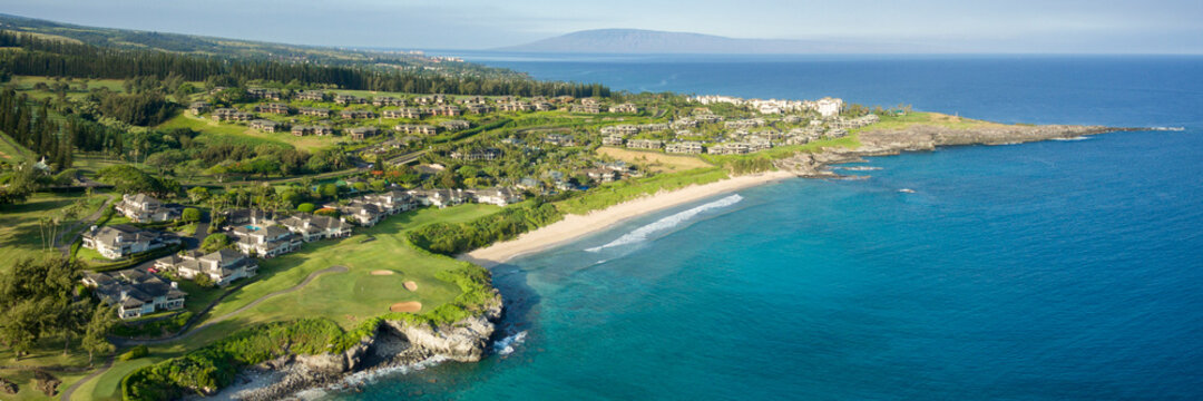 aerial panorama over maui's westside.