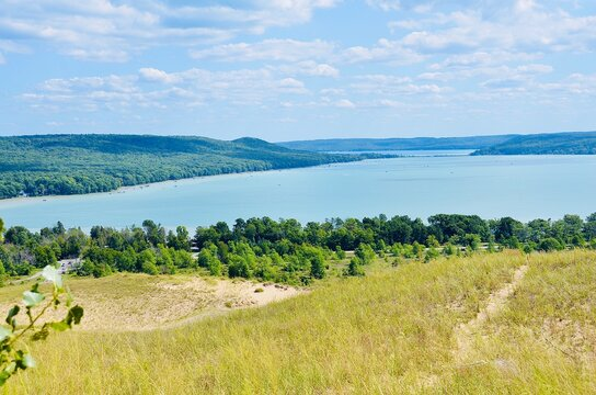Sleeping Bear Dunes National Lakeshore, located along the northwest coast of the Lower Peninsula of Michigan .  Scenery of the dunes and lakeshore