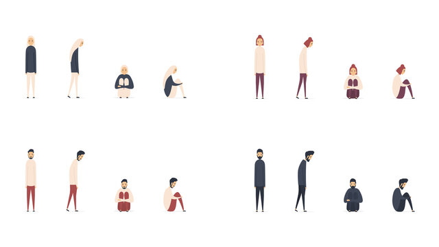 Set of people suffering from depression and stress isolated on white background. Desperate young men and women because of problems and failures. Vector illustration in a flat style.
