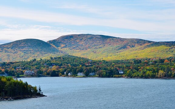 Landscape along the coastline in Bar Harbor, Maine, USA. Autumn scene.