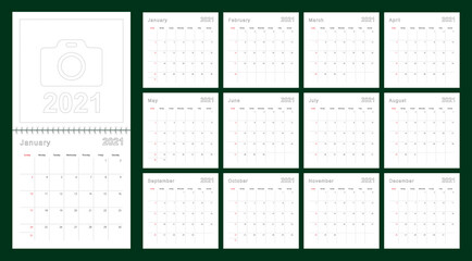 Simple wall calendar 2021 year with dotted lines. The calendar is in English, week start from Sunday.