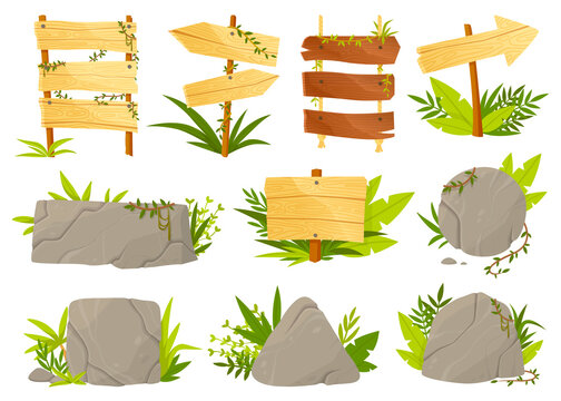 Set of panels and signposts in jungle style with blank rocks and rustic wooden signs surrounded by green leaves on white, colored vector illustration