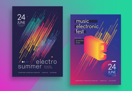 Electro Music Festival Poster Layout