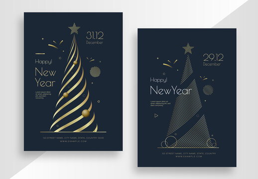 New Year Invitation Card Set with Golden Christmas Tree