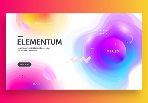 Website Landing Page Template with Gradients Shapes
